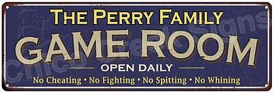 The Perry Family Game Room Blue Vintage Look Metal 6x18 Sign Family Name 6187306