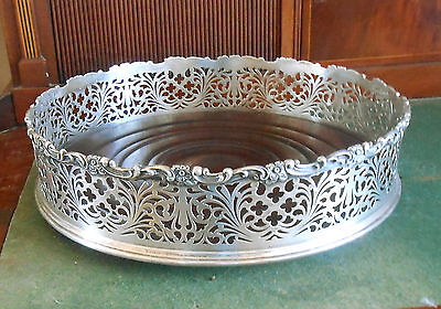 "RARE Huge 13"" Sterling Silver and Wood Coaster / Jardiniere Theodore B Starr"