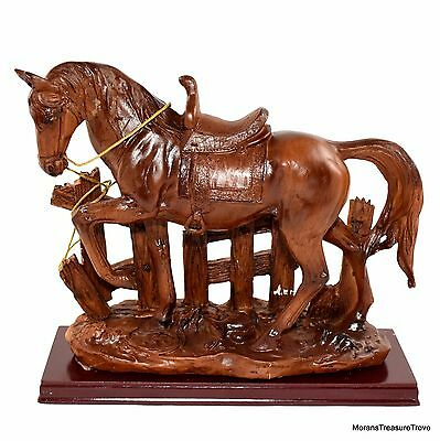 "Faux Wood Rustic Country Western Horse 6.75"" Figurine Statue on Base"