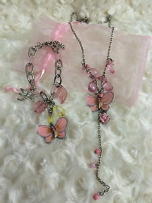 Silver And Pink Necklace And Bracelet