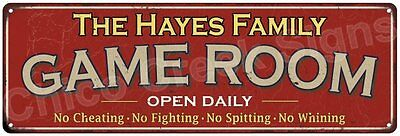 The Hayes Family Game Room Red Vintage Look Metal 6x18 Sign Family Name 6188308