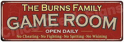 The Burns Family Game Room Red Vintage Look Metal 6x18 Sign Family Name 6188314