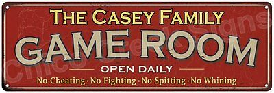 The Casey Family Game Room Red Vintage Look Metal 6x18 Sign Family Name 6188374