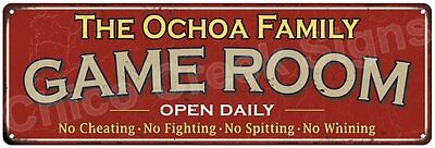The Ochoa Family Game Room Red Vintage Look Metal 6x18 Sign Family Name 6188392