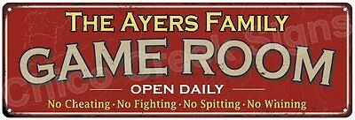 The Ayers Family Game Room Red Vintage Look Metal 6x18 Sign Family Name 6188458