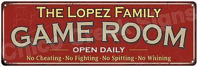 The Lopez Family Game Room Red Vintage Look Metal 6x18 Sign Family Name 6188288