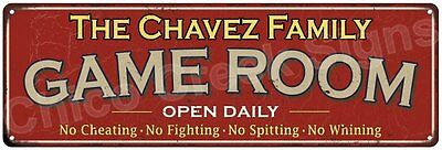 The Chavez Family Game Room Red Vintage Look Metal 6x18 Sign Family Name 6188528