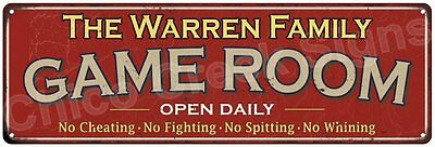 The Warren Family Game Room Red Vintage Look Metal 6x18 Sign Family Name 6188541