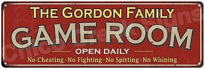 The Gordon Family Game Room Red Vintage Look Metal 6x18 Sign Family Name 6188535