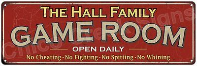The Hall Family Game Room Red Vintage Look Metal 6x18 Sign Family Name 6188149