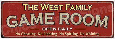 The West Family Game Room Red Vintage Look Metal 6x18 Sign Family Name 6188162