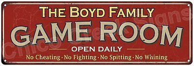 The Boyd Family Game Room Red Vintage Look Metal 6x18 Sign Family Name 6188169