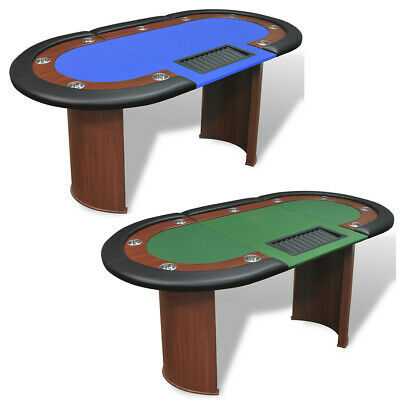 10 Player Casino Poker Table Dealer Area with Removable Chip Tray Blue/Green