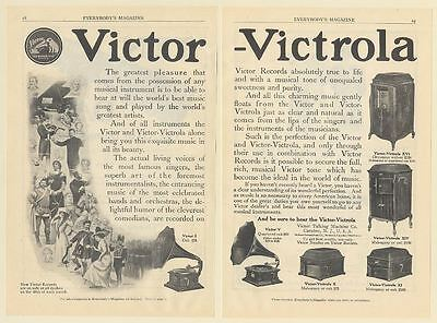 1911 Victor Victrola Models I V X XI XIV XVI World's Greatest Artists 2-Page Ad
