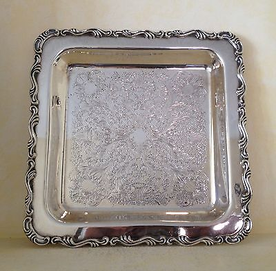 Vintage Silver Plate Copper Tray Platter Wm. A. Rogers