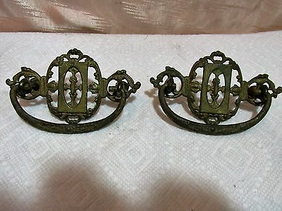 Antique Fancy Brass Finish Drawer Pulls, Pair