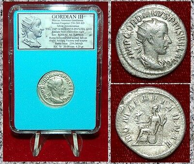 Ancient Roman Coin GORDIAN III Roma Holding Victory Reverse Silver Antoninianus