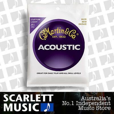 Martin M175 11-52 Custom Light 80/20 Bronze Acoustic Guitar Strings M-175