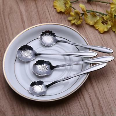 8pcs Sugar Coffee Spoon Flower Shape Stainless Steel Tea Spoon Ice Cream Spoons