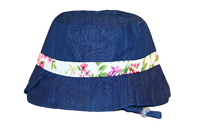 Denim Girl Bucket Sun Hat Kids Cap Adjustable Cotton 3-7yrs FREE SHIPPING
