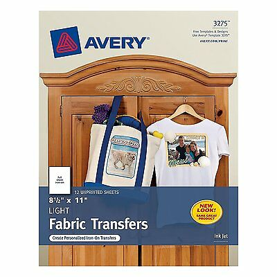Avery T-Shirt Transfers for Inkjet Printers, 8.5 x 11 Inches, Pack of 12 - 03275