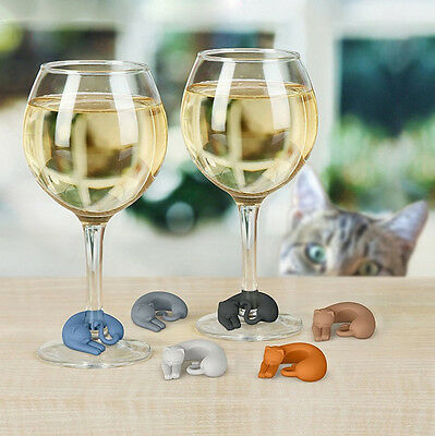 6Pcs Party Silicone Suction Cup Cat Wine Glass Recognizer Label Bar Accessories