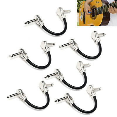 Low Noise Guitar Effect Pedal Board Patch Cable Cord With Right Angle Plug 6Pcs