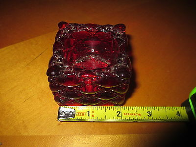 """Vintage 2"""" x 2"""" Ruby Red Glass Candle Holder"""