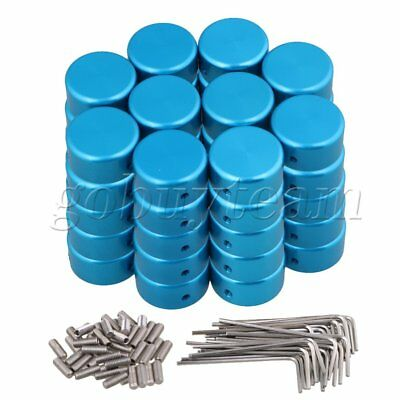 Blue Aluminum alloy Protection Cap for Guitar Effects Parts Set of 50