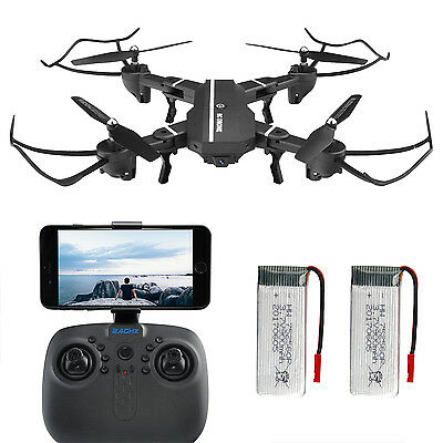 2XBattery+Foldable FPV Wifi 720P HD 2MP Camera RC Quadcopter 2.4GHz LED Drone