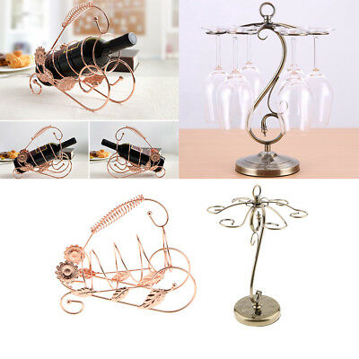 Metal Red Wine Bottle Rack+6pcs Metal Wine Glasses Hanging Storage Decor