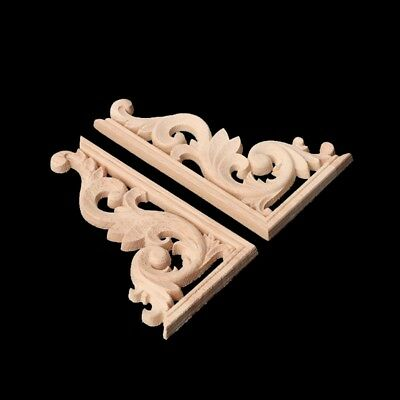 1Pair Carved Wood Corner Onlay Applique Frame Decor Furniture Craft Unpainted