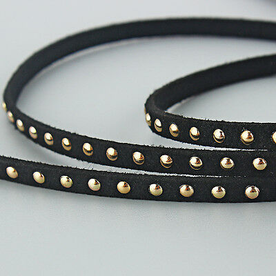1/5m Punk 5*2mm Flat Faux Suede Leather inlay Metal Dots DIY Jewelry making Cord