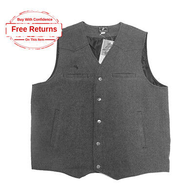 Wyoming Traders Western Cowboy Wool Vest for Men [XL 2XL 3XL] Charcoal Gray
