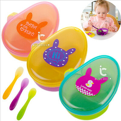 Toddler Baby Kids Child Feeding Lid Training Bowl With Spoon Luch Box Container