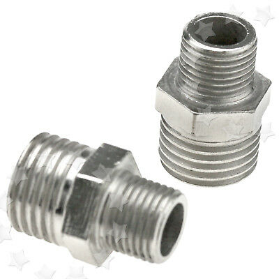 2pc 1/4'' BSP Male to 1/8'' BSP Male Airbrush Hose Adaptor Fitting Connector AU