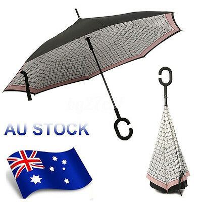 Windproof inside-out C-Handle Double Layer Inverted Reverse Upside Down Umbrella