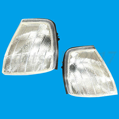 Smoke Clear Corner Signal Light Lamp Pair For 94-00 Mercedes Benz C Class W202