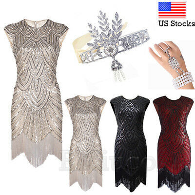 1920's Flapper Dress Vintage Great Gatsby Sequin Bead Fringe Fancy Party Costume
