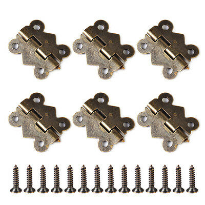 20pcs Antique Brass Jewelry Box Hinge Butterfly Small Hinge 20x17mm with Screws