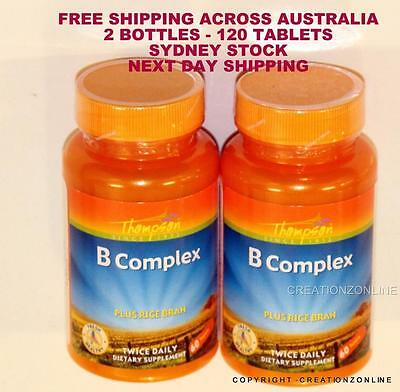 Thompson B Complex With Rice Bran - 2 Bottles 120  Tablets Stress Anxiety Tired
