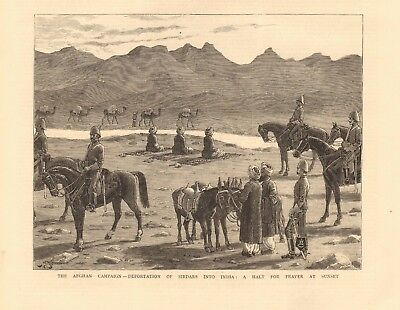 1880 Antique Print - Afghan Campaign -Deportation Of Sirdars Into India-Prayer