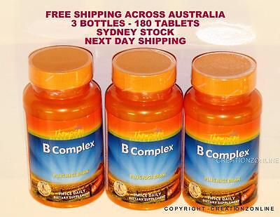 Thompson B Complex With Rice Bran - 3 Bottles 180  Tablets Stress Anxiety Tired
