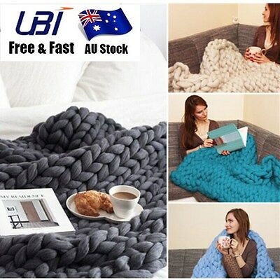 Hand Large Sofa Bed Knitted Blanket Thick Yarn Merino Wool Bulky Throw Keep Warm