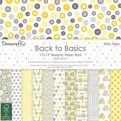 Baby Steps Dovecraft Basics Paper Pad 12 x 12 36 Sheets Scrapbooking Card Craft
