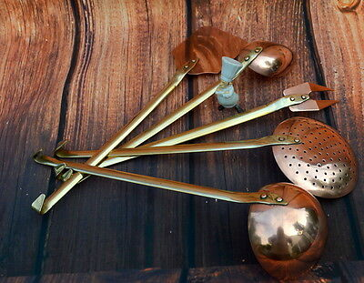 Quality Vintage French Copper and brass Kitchen Utensils ladle skimmer 5 piece