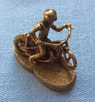 Vintage Brass Speedway Racing Motorcycle Model