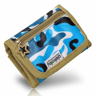 Alababy Boys Girls Kids Multicolor Camo Canvas Trifold Wallet with Zipper