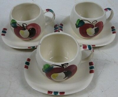 3 Vintage Cup & Saucers Purinton Ware Apple Pattern