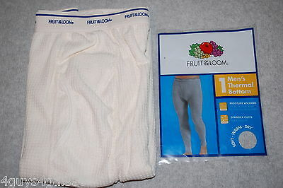 Mens Long Underwear Bottoms OFF WHITE LONG JOHNS Waffle Knit Thermal S M L XL